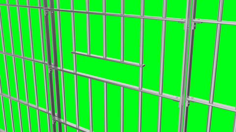 Animation of opening and closing the prison lattice side view on a green 画像
