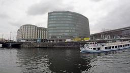 Time Lapse: Spree At Schiffbauerdamm With Friedrichstrasse Station In Background Footage