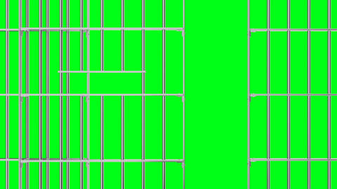 Animation of opening and closing the prison lattice on a green background, Animation