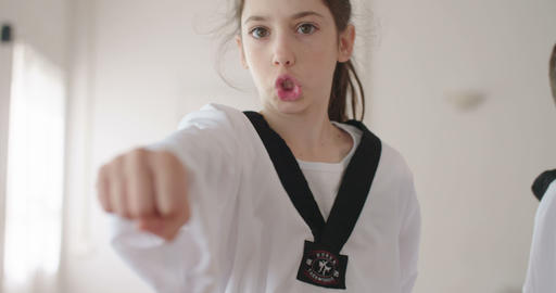 Slow motion footage of a girl practicing martial arts Footage