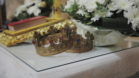 two crowns for wedding ceremony in the Church Live Action