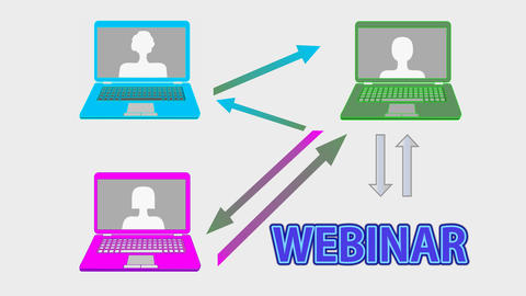 Webinar banner animation with multicolored laptops, arrows, join button and hand Animation