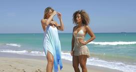 Stylish relaxing women on sandy beach Footage
