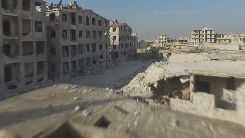city of Aleppo, Syria, drone flight among the destroyed houses ビデオ