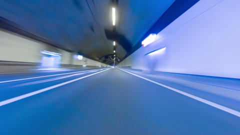 Fast driving by a tunnel.Vehicle shot with preponderance in the center Footage