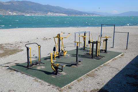 Street sports town. Outdoor training simulators on the beach of Novorossiysk フォト