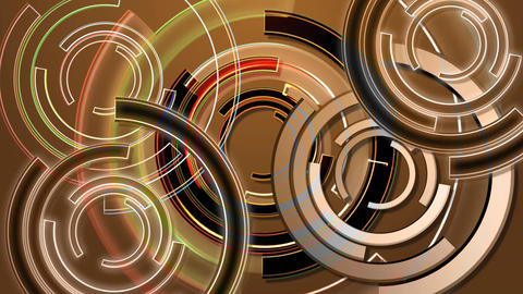 An abstract background loop of golden spinning rings Live Action