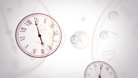 Flying clocks with fast changing time on white background. Looped CG動画素材