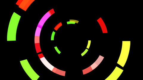 Orbiting coloured shapes spinning in a gyroscopic fashion Footage