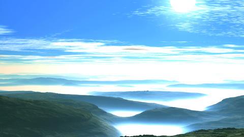 Beautiful Sunset over Misty Hills Animation