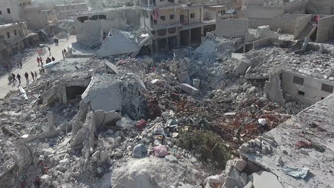Aerial view of destroyed houses in Aleppo (Syria) after bombing Footage