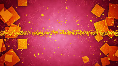 Red and Gold Glitter Background with Traditional Japanese Loop Patterns Animation
