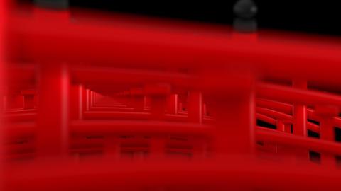 Scenery of Red Bridge Cross in Japan, CG Animation, Loop CG動画
