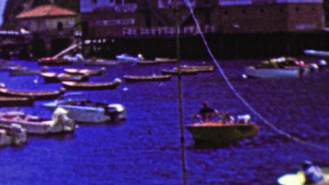 1962: Blue seas party motor boating harbor seaside port Footage