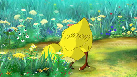 Yellow Chicken Looking for Food Animation