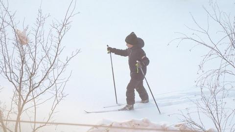 Boy walking on skis Archivo