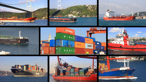 Multiscreen montage, split screen collage. Tanker, freighter and container ship Footage