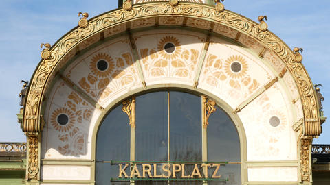 Karlsplatz Stadtbahn Station designed by designer Otto Wagner Jugendstil period Footage