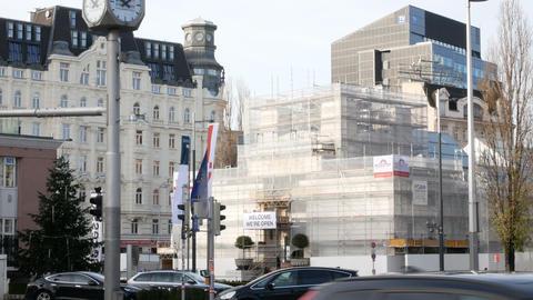 Secession Palace undergoing restoration, Vienna Austria Footage
