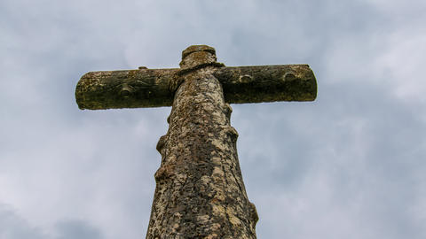 Cross with Passing Clouds Footage