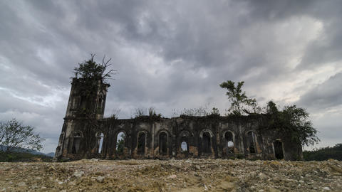 Exterior of the church Sacred Heart of Jesus still maintain although abandoned Live Action