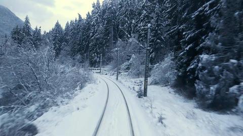 Train in winter scene Footage