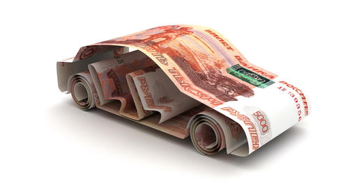 Car Finance with Russian Ruble Animation