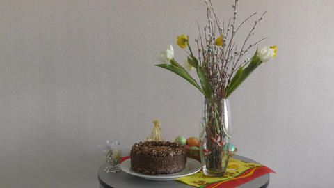 Easter table for the festive day GIF