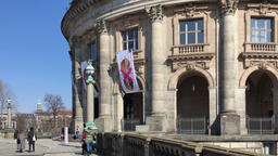 Tourists In Front of Bode Museum On The Museum Island In Berlin, Germany Footage