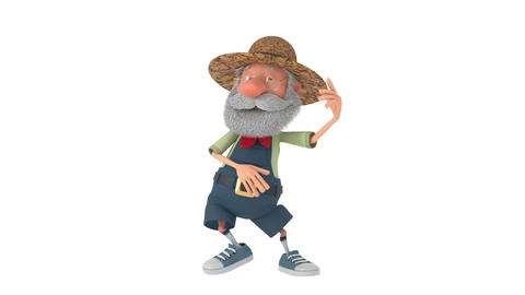 3D illustration the elderly farmer moves outdoors with a smile 애니메이션