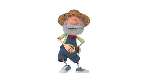 3D illustration the elderly farmer moves outdoors with a... Stock Video Footage