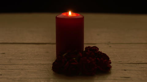 Red candle light with rose, romance theme Live Action