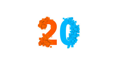 number twenty 20 from letters of different colors appears behind small squares Animation