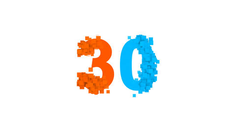 number thirty 30 from letters of different colors appears behind small squares Animation