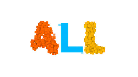 text ALL from letters of different colors appears behind small squares. Then Animation