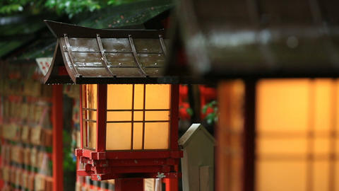 Japanese temple lanterns in rainy weather GIF