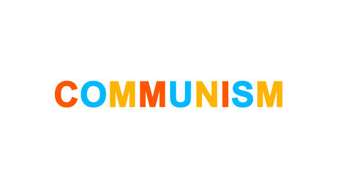 political system COMMUNISM from letters of different colors appears behind small Animation