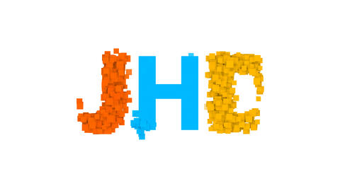 abbreviation UHD from letters of different colors appears behind small squares Animation