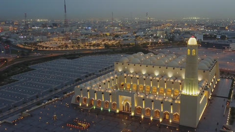 Imam Muhammad ibn Abd al-Wahhab Mosque (Qatar State Mosque) night view from the Footage