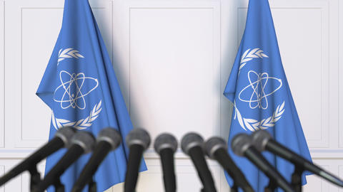 International Atomic Energy Agency IAEA official press conference. Flags and Live Action