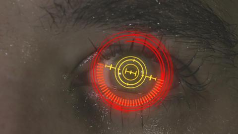 Cybernetic brain. Zooming through eye Footage