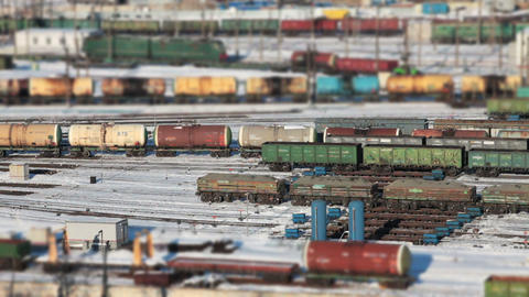 railway tank cars with oil as if a toy railway Footage
