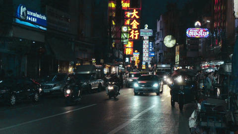 Busy Street Scene in China Town, car Traffic Footage