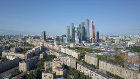 Moscow City skyscrapers, aerial view. Office business center of moscow city Footage