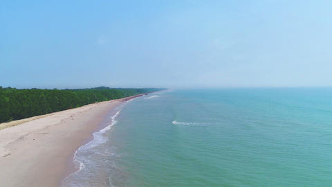 Tropical sea beach in summer season, top view Live Action