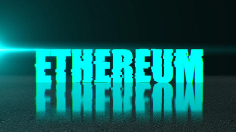 Blockchain concept, stylish ethereum text on surface with reflection, 3d ビデオ