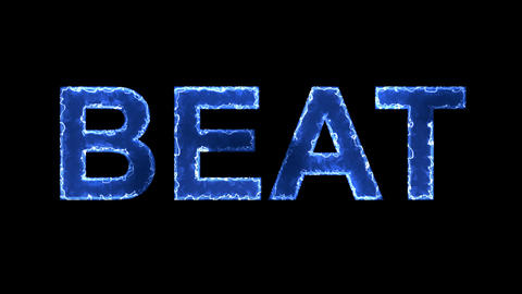 Blue lights form luminous text BEAT. Appear, then disappear. Electric style Animation