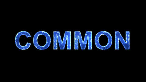 Blue lights form luminous text COMMON. Appear, then disappear. Electric style Animation