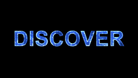 Blue lights form luminous text DISCOVER. Appear, then... Stock Video Footage