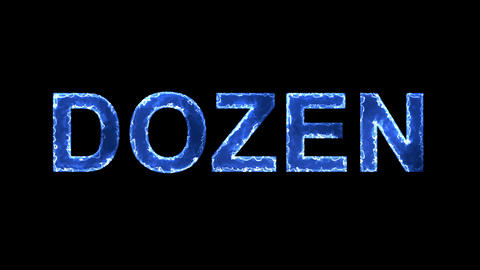 Blue lights form luminous text DOZEN. Appear, then disappear. Electric style Animation